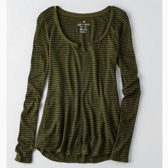 511684fa American Eagle Outfitters Tops | Ae Soft Sexy Waffle Thermal Tee ...